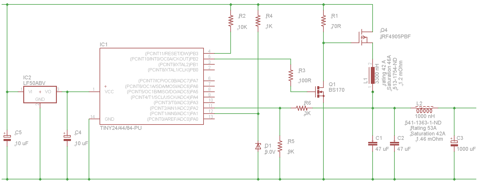 Switching Buck Converter based on ATTiny84a